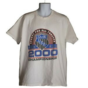 Mens AAU USA Sports For All Forever White Graphic Short Sleeve T-Shirt Size XL