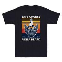 Save a Horse Ride a Beard Vintage Funny Men Short Sleeve T-Shirt Cotton Tee Gift