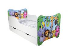 Children Bed Madagascar, Junior Bed with mattress 140x70cm + drawer
