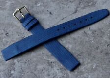 Blue lizard grain leather 16mm open-ended vintage watch strap made by Hirsch NOS