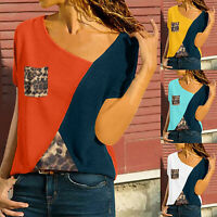 Womens Leopard Color Block Short Sleeve T-Shirt Summer Casual Tee Tops Blouse