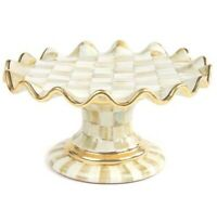 MacKenzie-Childs Parchment Check Fluted Cake Stand - RARE