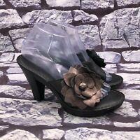 Born Women's Black Pewter Leather Floral Slip On Heel Slides Sandals Size 9