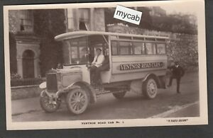 Postcard Ventnor Road Car on Isle of Wight early motor bus coach RP by Bagwell