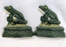 """Lot of 2 Cast Iron Frog Doorstops bookends 6.5"""" Painted"""