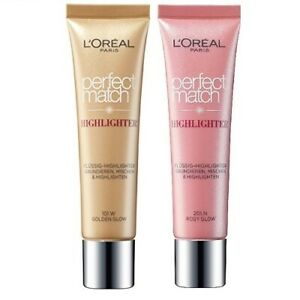 2St. L'Oreal Perfect Match Highlighter Cream - 201.N Rosy Glow 101.W Golden Glow