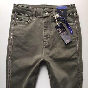 Bnwt Damen M & S die Carrie High Rise Skinny khaki grün Jeans Größe 8 R (901j)