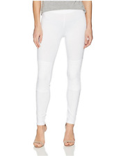 New HUE Women's Lace Knee Cotton Leggings,White,Size:S (4-6)