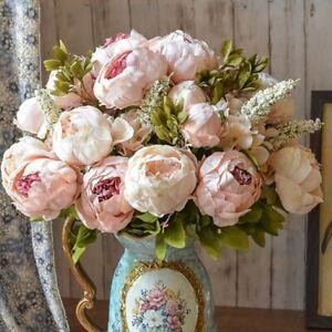 13 Heads Peony Flowers Bouquet Artificial Decor weddings home Christmas x6 colou