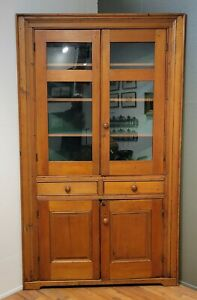 Antique English 1840s Pine Corner Cabinet Glass Doors and Painted Green Interior