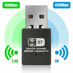 600Mbps Bluetooth USB WiFi Adapter Dongle Dual Band 2.4/5Ghz for Desktop Laptop