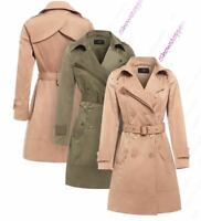 Womens Trench Coat Ladies Mac Jacket Size 8 10 12 14 16 Beige Khaki Camel