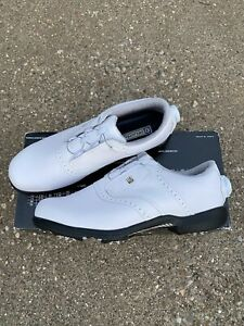 Footjoy Dryjoys Cleated Boa Traditional Blucher Golf Shoe Size 9.5 Wide White