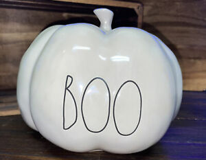 "New Rae Dunn 2021 Halloween ""BOO"" White Iridescent Ceramic Pumpkin VHTF"