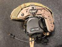 Z Tactical SORDIN Military Style Headset with ARC Helmet Rail Adaptor - FG
