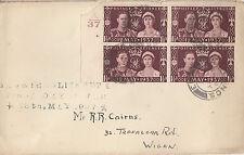 GB :1937 GVI Coronation plain FDC- block of four cyl 4-CDS cancel