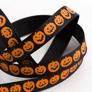 Orange & Black Halloween Pumpkin Grosgrain Ribbon - 9mm x 5m Roll Choose Design