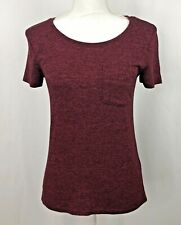 Abercrombie & Fitch Womens XS Burgundy Shirt Top Crew Neck w Front Pocket SS