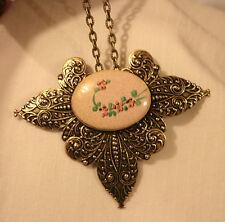 Stunning Vintage Speckled Violet Enameled Mauve Flowers Pendant Necklace Brooch