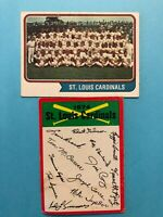 1974 Topps Team Card and Unmarked Checklist of St. Louis Cardinals