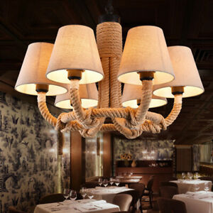 Rustic Hemp Rope Candelabra with 6 Fabric Cone Shade Pendant Lights Chandeliers
