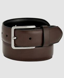 $59 Tommy Hilfiger Men's Brown Faux Leather Harness Buckle Dress Belt US S 30-32