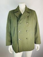 J. Crew Medium Mens Pea Coat Double Breasted Green Wool Blend