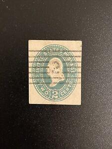 US 1887 - 1894 2c Green Washington Early Green Cut Envelope Square Fancy Cancel