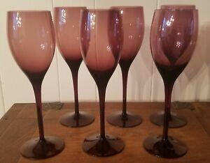 Set of 6 Plum / Purple Glass 6 Fluid Ounce Wine Glasses / Stemware / Barware