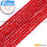"""Red Coral Gemstone Faceted Round Beads For Jewelry Making Free Shipping 15"""""""