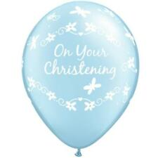 "10 x On Your Christening Butterflies Pearl Blue Qualatex 11"" Latex Balloons"