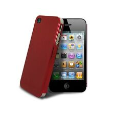Coque Housse Etui Metal Brush Alu Ultra-Fine 0,3 mm Pour iPhone 4/4S Rouge
