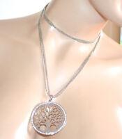COLLANA lunga donna argento girocollo fili ciondolo albero strass brillantini A1