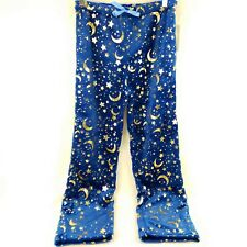 Women's Ultra Soft Comfort Pants Blue with Gold Metallic Stars and Moons Medium