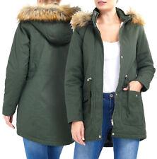 NEW Plus Size 18 20 22 24 Womens Faux Fur PADDED Ladies JACKET PARKA COAT Navy