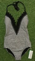 New Seafolly Riviera Laced Black Deep V Maillot - Size AU8 / US4