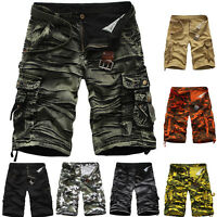 Men Army Cargo Combat Camo Camouflage Overall Shorts Sports Beach Pants Cotton