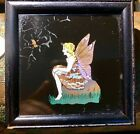 """Antique Art Deco Handpainted """"Fairy"""" Made With Real Butterfly Wings London Frame"""