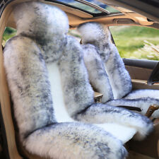 2PCS Fluffy Woolen SUV Car Seat Cover Front Chair Seat Accessories White/Gray