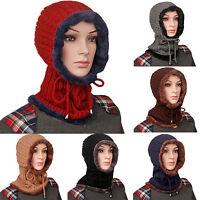 Women's Baggy Beanie Knitted Cap Hats Full Neck Ear Braided Winter Warm Ski Caps