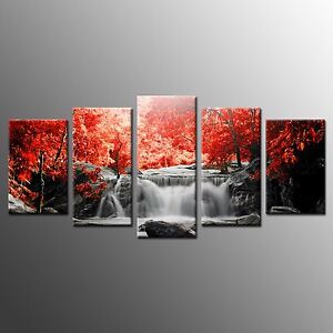 FRAMED Canvas Print Poster Red Trees Waterfall Wall Art Painting Home Decor-5pcs