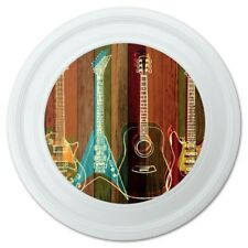 """Guitars Electric Acoustic Rock and Roll Wood Paneling Novelty 9"""" Flying Disc"""