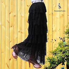 SHARON TANG Modest Apparel Long Black Lace Layer Ruffle Skirt M ST123081008-3