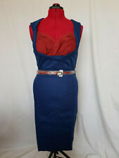 Lindy Bop Shell Blue Red Pinup Retro Rockabilly Wiggle Dress with Belt Size 14
