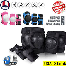 6Pcs Skating Protective Gear Set Wrist Elbow Knee Pads Bike Skateboard Adult Kid