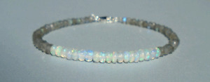 "Ethiopian Opal & Labradorite Gemstone 3-4mm Rondelle Faceted Beaded 7"" Bracelet"