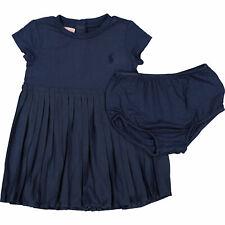 Ralph LAUREN Bebé Niñas 2pc Azul Marino Vestido Plisado Camiseta y Pantalones Set, 12 meses