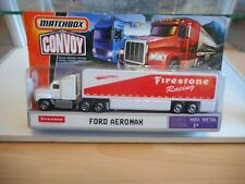 """Matchbox Convoy Ford Aeromax + Trailer """"Firestone Racing"""" in White on Blister"""