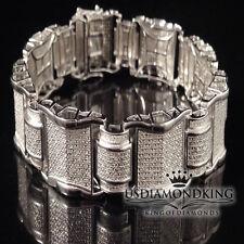 """MEN'S 2 CT GENUINE REAL DIAMOND DESIGNER BRACELET NEW 14K WHITE GOLD FINISH 8.5"""""""