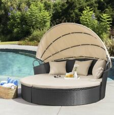 Outdoor Patio Wicker Round Daybed With Retractable Canopy Washable Cushions Pool